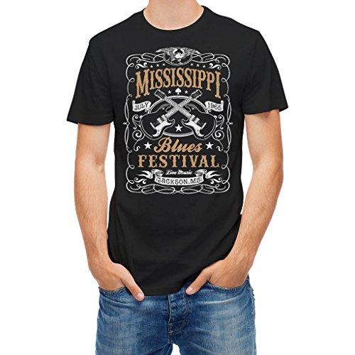 T-shirt Vintage Rock blues music festival guitar Black L