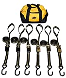 Ratchet Tie Down Straps With Soft Loops - 7 Piece Kit With Duffel Bag - For Motorcycle, Dirt Bike, ATV, UTV. - Made in USA