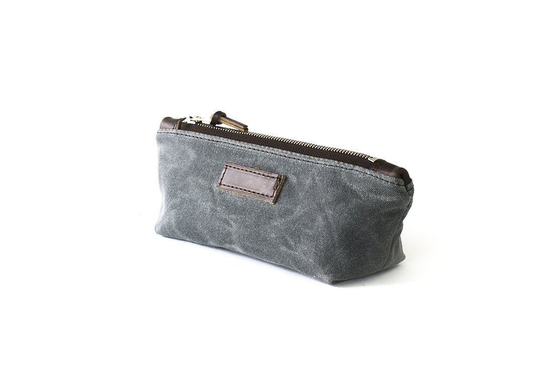 Waxed Canvas Zipper Pouch: Water-Resistant, Travel, Slate Grey - No. 275 (Made in the USA)
