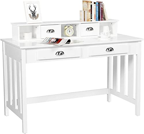 Yaheetech Writing Desk Work Station Removable Floating Organizer Home Office Computer Desk for Girls Wood Organizer with 4 Drawers Solid Pine Wood Legs, White