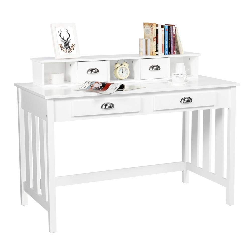 Yaheetech Writing Desk Work Station Removable Floating Organizer Home Office Computer Desk for Girls Wood Organizer with 4 Drawers Solid Pine Wood Legs, White by Yaheetech