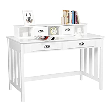Yaheetech Writing Desk Work Station Removable Floating Organizer Home  Office Computer Desk for Girls Wood Organizer with 4 Drawers Solid Pine  Wood ...