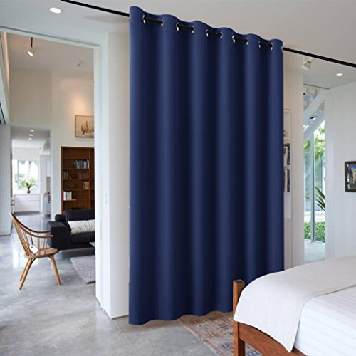 10' Deep Shelf - RYB HOME Wide Slider Curtain Room Divider Thermal Blackout Drape Repel Summer Heat & Winter Cold Separation Space Room/Locker Room, Wide 10ft x Tall 9ft, Navy Blue, 1 Panel