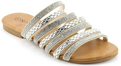 Nature Breeze Women's Rhinestone Slide Flat Sandals (10 B(M) US, Silver) - Breeze Womens Sandals