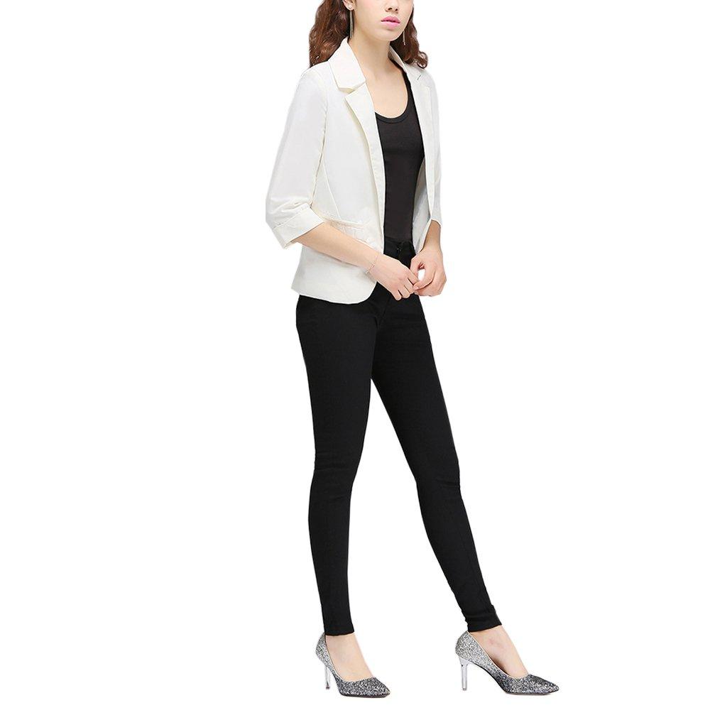 Lrud Women's Fashion Cotton Rolled Up 3/4 Sleeve Slim Office Blazer Jacket Suits White XL