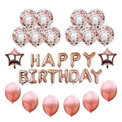 Rose Gold Happy Birthday Balloons Party Decorations &12 inch Latex Balloons 13 Letter Birthday Banner 2 Star Foil Balloons Rose Gold Birthday Decorations Set For Baby Shower, Anniversary Or Festival Decor
