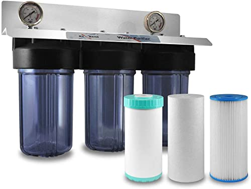 3 Stages 10 x4.5 Clear Whole House Water Filter System 1 Ports 1 Ports – Left To Right