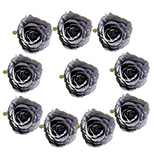 Fityle 10 Pieces Vintage European Silk Roses Artificial Flowers Heads 24