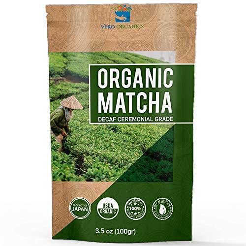 Matcha Green Tea Powder - Organic Premium Decaf Ceremonial Grade - Low Caffeine Sugar Free - USDA Certified Authentic Japanese Origin - Ideal for Latte Smoothie and Baking - Value Size 3.5oz 100g