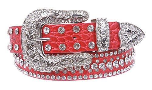 Snap On Western Crocodile Print Rhinestone Leather Belt Size: M - 34 Color: Red ()