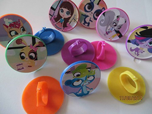 Littlest Pet Shop Birthday - 12 Littlest Pet Shop Rings cupcake toppers - birthday party favor pinata tv show