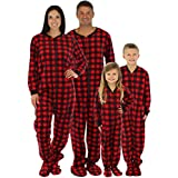 SleepytimePjs Family Matching Red Plaid Fleece Footed Pajamas (STM17-PLA-W-MED)