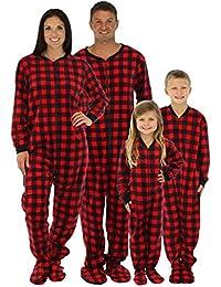 SleepytimePjs Family Matching Red Plaid Fleece Onesie PJs Footed Pajamas