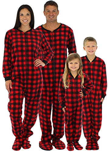 SleepytimePjs Family Matching Red Plaid Fleece Footed Pajamas (STM17-PLA-W-MED) ()