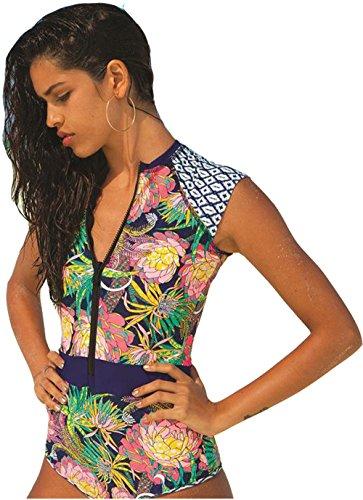 tengweng Womens Zip Front Floral Print Half Sleeve One Piece Swimsuit Rash Guard Swimwear L (Surfing Short Sleeve Rash Guards)