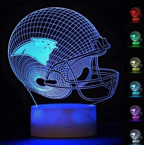 Football Helmet Light - Touch Control Football Team Light Lamp- 7 Color Changing Touch Light Lit Base - Night Light for Boys Men Women for Football Sports Lovers (Carolina ()