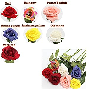 Angel Isabella 10 Stems of Real Touch keepsake artificial rose- Rose bloom looks and feels like fresh cut flowers -perfect for Wedding Bridal Office Party Home Decor 79