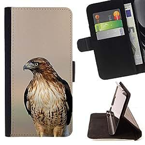 BullDog Case - FOR/Samsung Galaxy S6 EDGE / - / hawk blurry sunset nature summer bird /- Monedero de cuero de la PU Llevar cubierta de la caja con el ID Credit Card Slots Flip funda de cuer