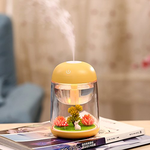 Price comparison product image Mini Portable Desktop Air Humidifier,Mini Landscape Ultrasonic Humidifier with 7 Color Changing LED Night Lights,USB Portable Mist Air Humidifier For Home, Office, Bedroom, Baby Room,Gift ideal,Yellow