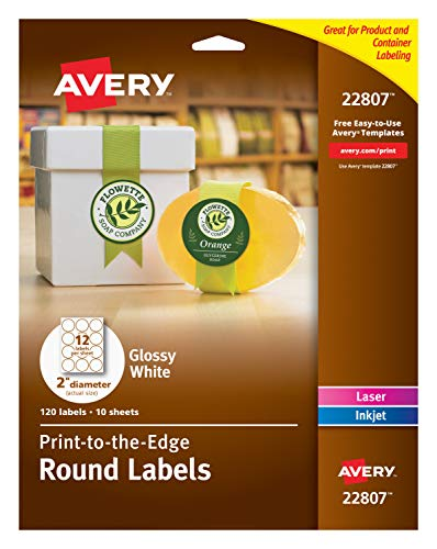 Avery Glossy White Circle Labels, Sure Feed Technology, Laser/Inkjet Compatible, 2