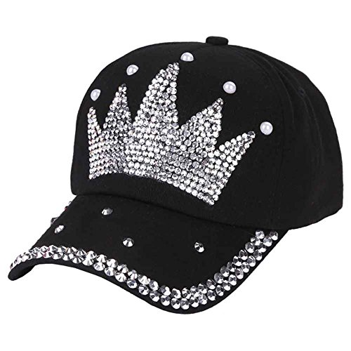 Funbase Children Outdoor Sports Star Shaped Bling Baseball Hiking Cap (Black&Crown) by Funbase