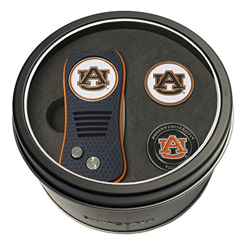 (Team Golf NCAA Auburn University Tigers Gift Set Switchblade Divot Tool with 3 Double-Sided Magnetic Ball Markers, Patented Single Prong Design, Causes Less Damage to Greens, Switchblade Mechanism)