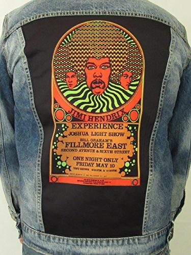 Dragonfly Clothing Men's Denim Jacket Jimi Hendrix Experience Joshua Light Show Fillmore East 1968 (Large)