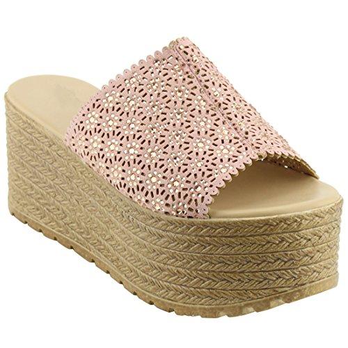 Beston Em28 Womens Slip On Comfort Tessuto Estivo Sandalo Con Plateau Rosa