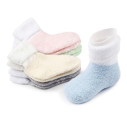 NACOLA - Calcetines gruesos de algodón para bebés recién nacidos de 0 a 12 meses,