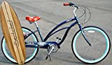 Anti rust light weight aluminum alloy frame Fito Marina alloy SHIMANO 7 speed 26″ wheel womens beach cruiser bike bicycle midnight blue and turquoise rims