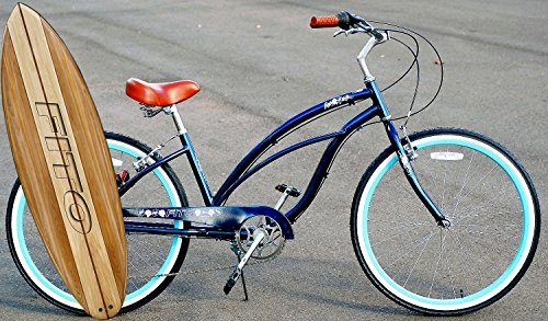"""Fito Anti Rust Light Weight Aluminum Alloy Frame Marina Alloy Shimano 7 Speed 26"""" Wheel Womens Beach Cruiser Bike Bicycle Midnight Blue and Turquoise Rims"""
