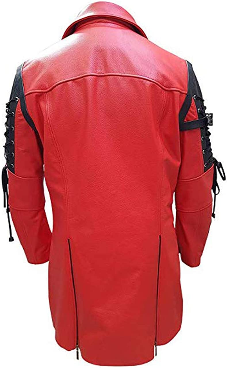 Matrix Steampunk Gothic Red and Black Trench Leather Jacket Coat