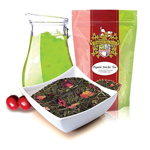 English Tea Store Loose Leaf, Organic Sencha Kyoto Cherry Rose Festival Green Tea Patches, 4 Ounce