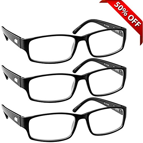 Reading Glasses _ 3 Pack Always Have a Professional Look Crystal Clear Vision and Sure-Flex Comfort Spring Arms & Dura-Tight Screws _180 Day Guarantee 2.50
