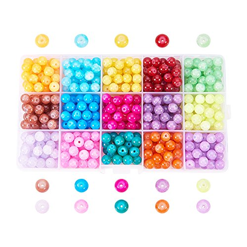 Pandahall 1 Box (About 400pcs) 15 Color 8mm Imitation Jade Baking Painted Crackle Glass Round Beads Assortment Lot for Jewelry Making - Painted Round Glass