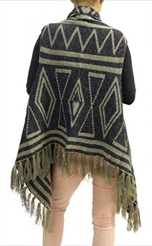 Señoras de las mujeres de impresión azteca franja de la borla abierto drapeado Mantón Cardigan 8 10 12 14 16 marrón
