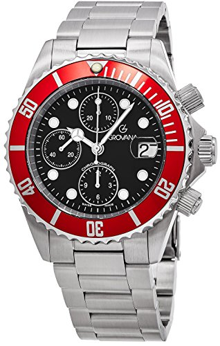 Grovana Diver Men's Black Face 42MM Chronograph Date Stainless Steel Mens Dive Watch 1571.6136