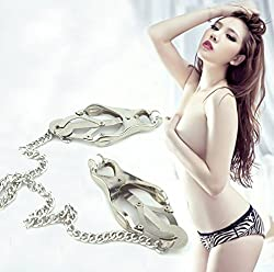 Pevor Nipple Clamps With Chain Clip Butterfly Style Fashion Sm Sex Toy Adult Healthy Tools For Couples Nipple Breast Stimulation Stimulate Blood Circulation Expand The Sensory Experience Couples Game