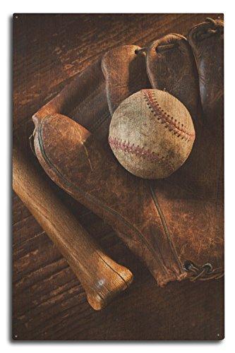 Lantern Press Baseball, Mitt and Bat (10x15 Wood Wall Sign, Wall Decor Ready to Hang) ()