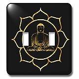 3dRose Sven Herkenrath Buddha - Buddha Asia Symbol Fantasy Thai Religion Spiritual Design Gold Black - Light Switch Covers - double toggle switch (lsp_254276_2)