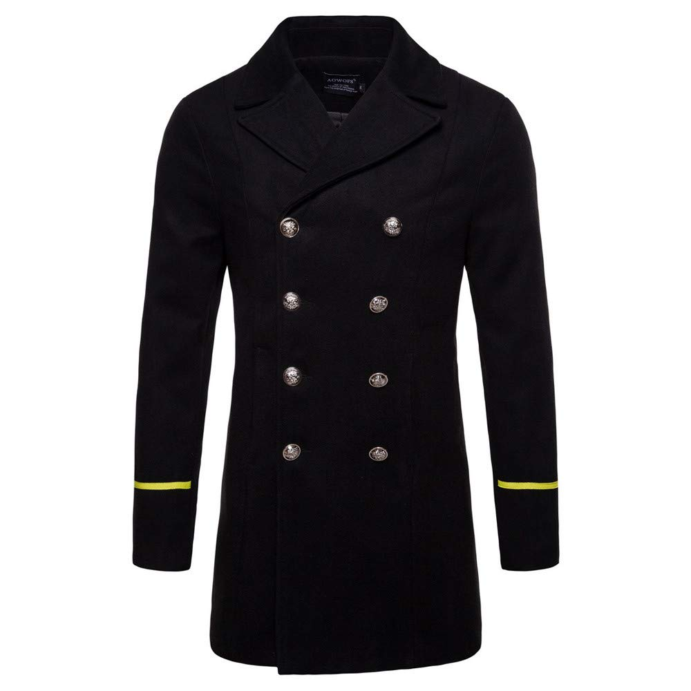 Men Casual Winter Wool Blend Pea Coats Trench Coat Winter Long Jacket Navy Double Breasted Pocket Overcoat Outwear
