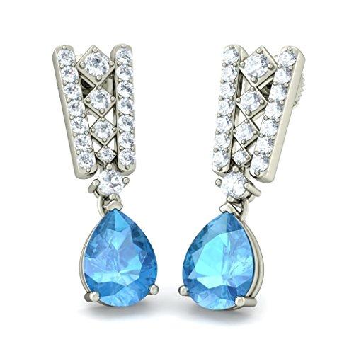 18K Or Blanc 0.39carat au total White-diamond (IJ | SI) et topaze bleue Pendants d'oreilles