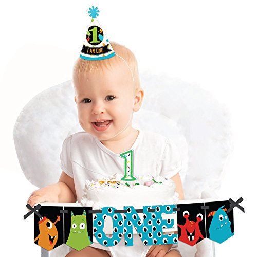 Big Dot of Happiness Monster Bash 1st Birthday - First Birthday Boy or Girl Smash Cake Decorating Kit - Little Monster High Chair Decorations -