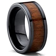 Amazon #LightningDeal 98% claimed: Men's Ceramic and Wood Inlay Wedding Band Ring