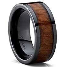 Metal Masters Co.® Black Ceramic Flat Top Wedding Band With Ring with Koa Wood Inlay, 9MM Comfort Fit