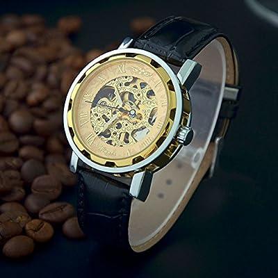 ozuzu (TM) marca de moda 2015 Winner esqueleto reloj mecánico mano viento relojes para hombre Casual reloj de pulsera vestido reloj Relogio Masculino