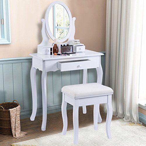 Giantex white vanity table jewelry makeup desk bench for White makeup table