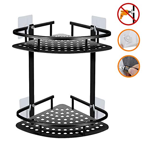 Jibeyhome Bathroom Shelf Wall Mounted Right Angle Corner Storage Shelves for Kitchen Bathroom Shower Caddy Space-Aluminum Triangle 2-Tiers Black