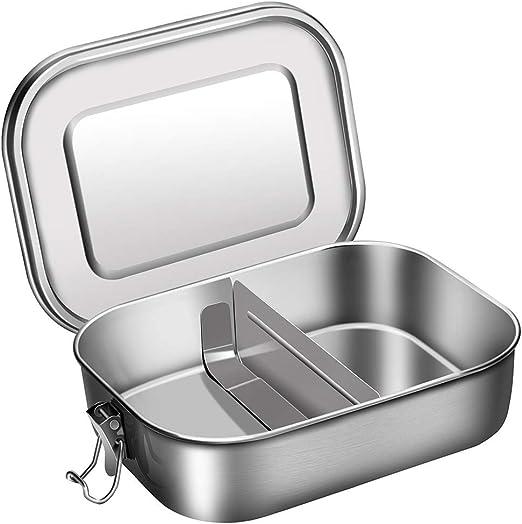 Metall Bento Lunch Box mit Herausnehmbarer Trennsteg und Klips Essen Snacks Beh/älter f/ür Kinder und Erwachsene 1200ml Edelstahl Bento Brotdose