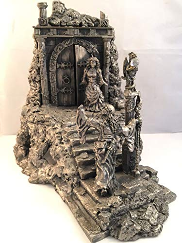 (Pewter Castle Entrance Figurine Vintage Heavy Large Metal Wizard Princess Dragon)